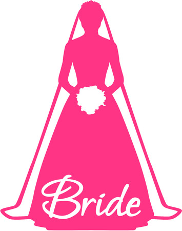 Pink bride with word Ilustracja