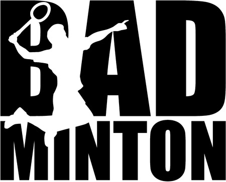 Badminton word with silhouette cutout
