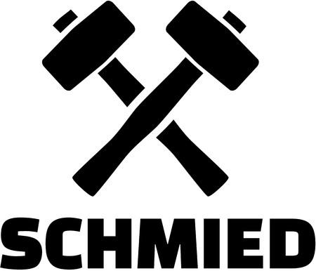 Blacksmith german word with crossed hammer