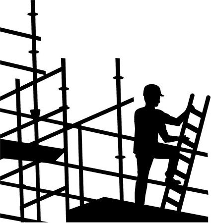 Scaffolder working on site