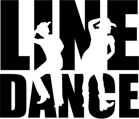 Line dance word with silhouette Çizim