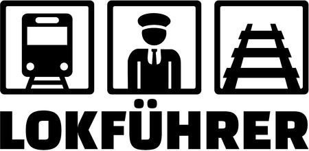 Treinbestuurderspictogrammen met Duitse baantitel Stock Illustratie