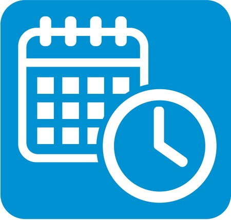 appointments: Deadline button with calendar and clock Illustration