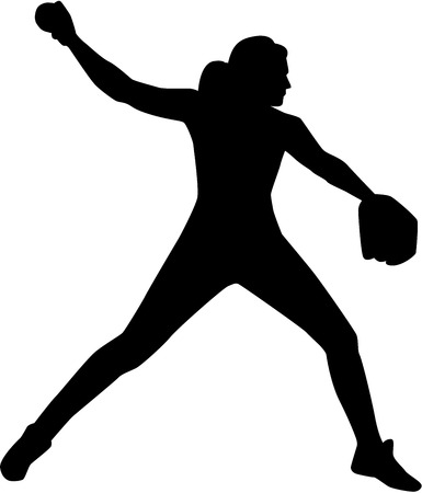 Softball pitcher silhouette 版權商用圖片 - 69035081