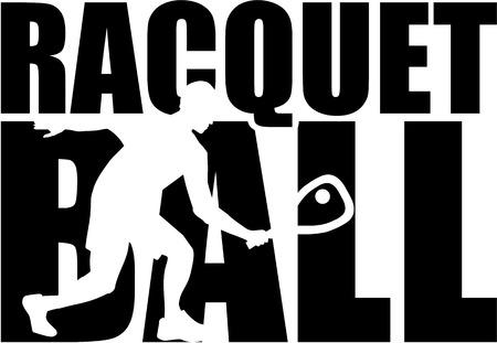 racquetball: Racquetball palabra con la silueta Vectores