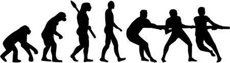 Touwtrekken evolutie Vector Illustratie