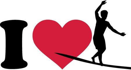 webbing: I love slackline silhouette Illustration