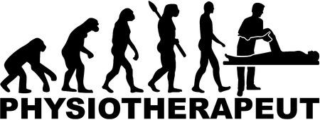 Physical therapist evolution. German job title. Illustration