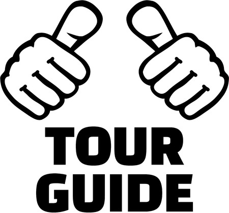 guia turistico: Tour guide thumbs. T-Shirt design.