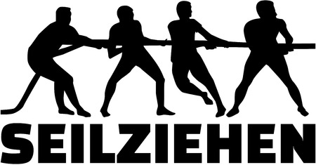Tug of war silhouette with german word