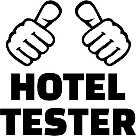 tester: Hotel tester with thumbs. T-Shirt design.