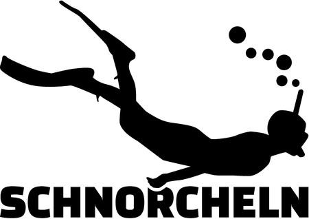snorkeling: Snorkeling man with german title