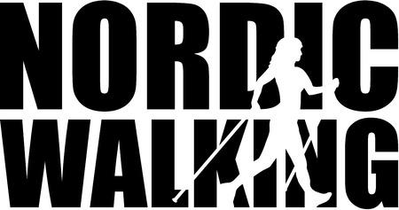 mot de marche nordique avec la silhouette découpée