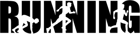 sprinting: Running word with sprinting silhouette Illustration