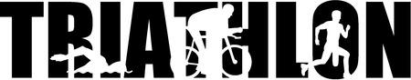 palabra triatlón con los recortes