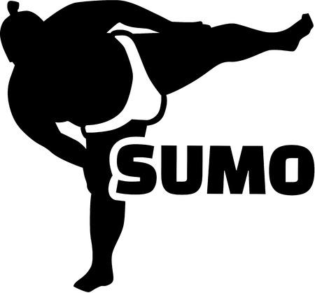 Sumo wrestler with word Illustration