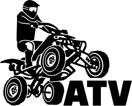 ATV driver with word Illustration