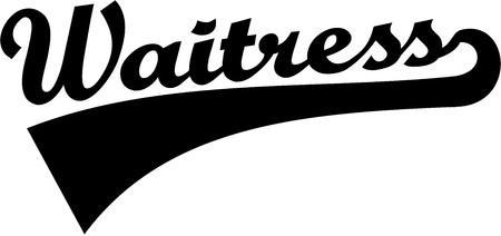 barmaid: Waitress - word with retro font