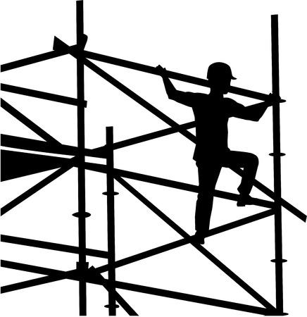 Scaffolder op het frame silhouet