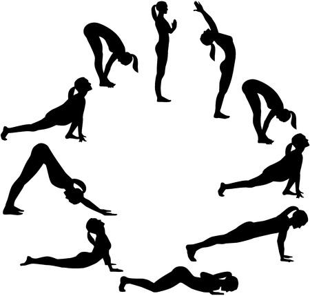 Yoga sun salutation - all positions in a circle Reklamní fotografie - 69057790