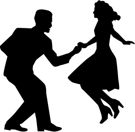 Swing dance couple Illustration