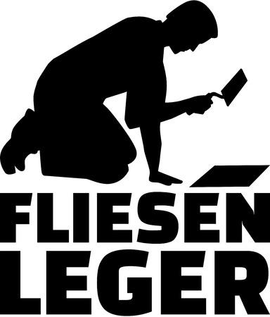 Tiler con cazzuola e titolo di lavoro tedesco