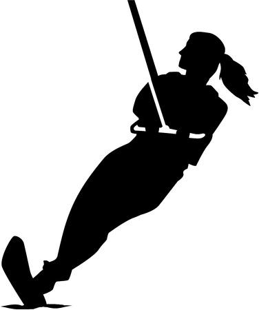 Water skiing woman silhouette Vektorové ilustrace