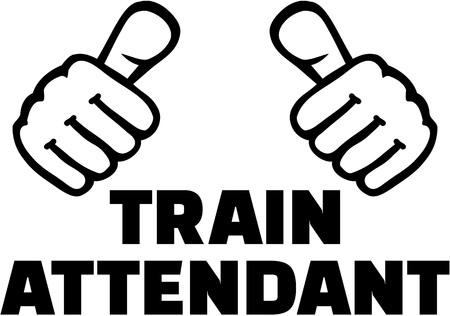 Train attendant thumbs. T-Shirt design. Illusztráció