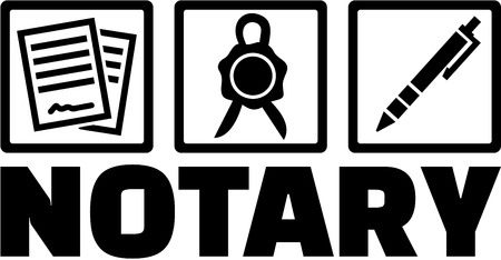 notary: Notary with icons. Contract, seal and pen.
