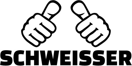 Welder With Thumbs German T Shirt Design Royalty Free Cliparts