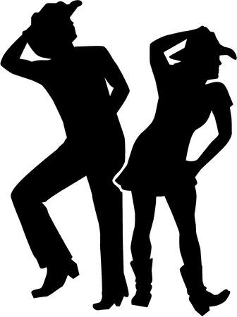 Line dancing silhouette man and woman