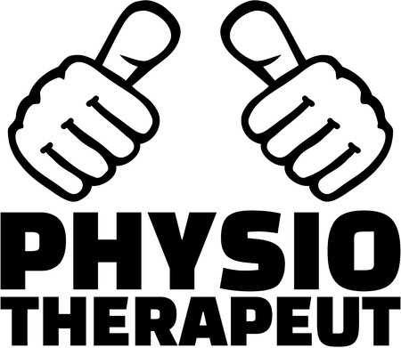 physiotherapist: Physiotherapist with thumbs. German T-Shirt design.
