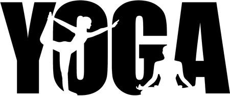 Parola di yoga con ritagli di silhouette Archivio Fotografico - 69057949