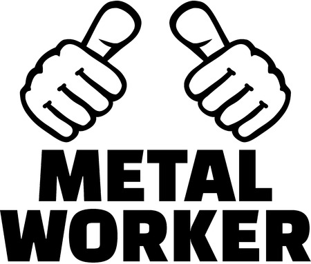 metalworking: Metal worker with thumbs. T-Shirt design.