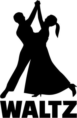 waltz: Couple silhouette dancing Waltz