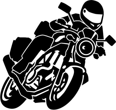 Biker on motorbike Stock Illustratie