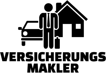 Insurance agent. German word with icon.