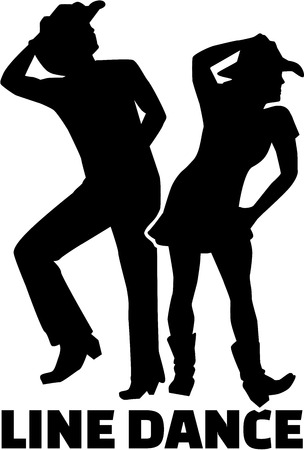 Line dance couple with word
