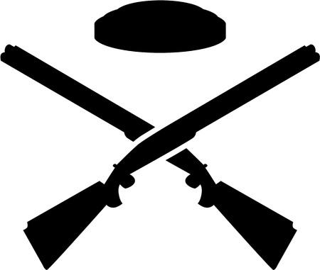 トラップ射撃銃を交差  イラスト・ベクター素材