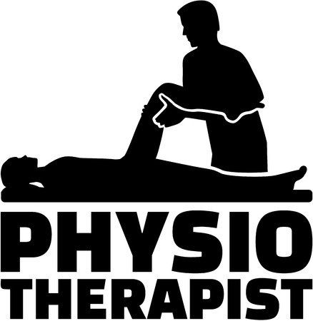 physiotherapist: Physiotherapist job title with silhouette