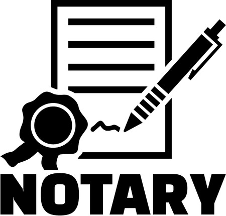 Notary with contract and sign