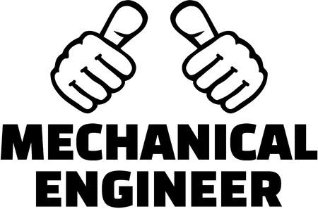 thumbs ingénieur en mécanique. T-shirt design.