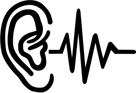 hearing aid: Hearing aid - ear with frequence Illustration