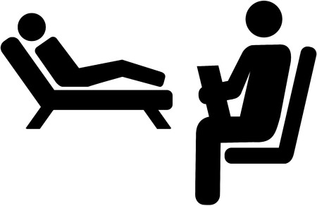 Psychologist icon with patient on a couch Illustration