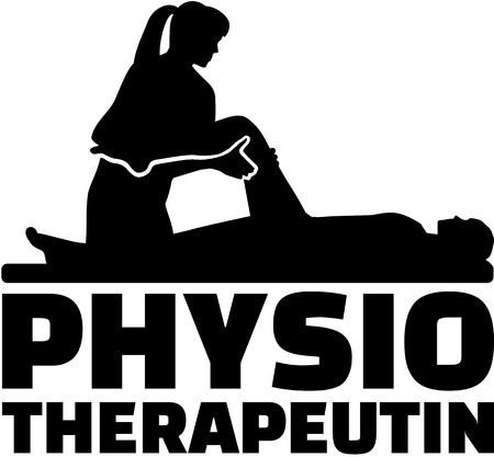 physiotherapist: Female physiotherapist job title with silhouette