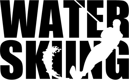 water: Water skiing word with silhouette cutout