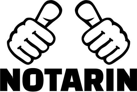 notary: Female Notary with thumbs. German T-Shirt design Illustration
