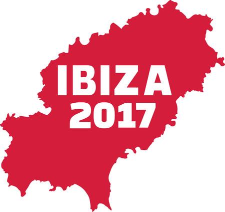 ibiza: Ibiza map with Ibiza 2017 Illustration