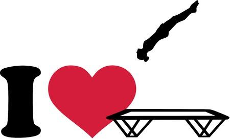 I love trampoline silhouette Çizim