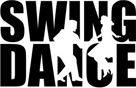 Swing dance word with couple cutout Illustration